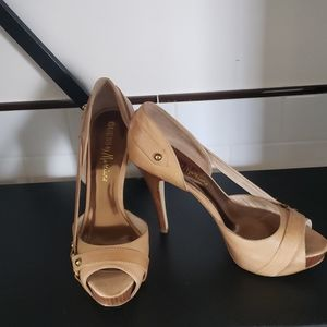 Guess by Marciano leather nude heels 9.5